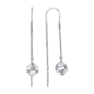 Серебряные серьги цепочки с шариком из бесцветных фианитов Б3386376б 97c6afe47f1
